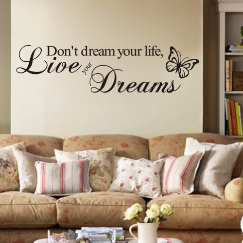 Adesivo da parete in vinile con scritta Don't dream your life, live your dreams
