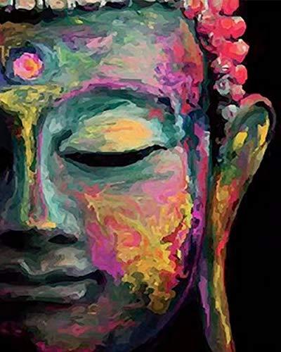 Napain Malen nach Zahlen Erwachsene Kinder Kits, Majestätischer Buddha, DIY Leinwand Ölgemälde Acrylfarben und 3 Pinsel Home Dekoration Geschenk (40x50cm, Ohne Rahmen)