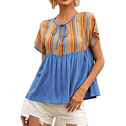 Camiseta De Manga Corta De Manga Corta con Cuello Redondo Y Cuello Redondo con Costura Informal para Mujer De Primavera Y Verano