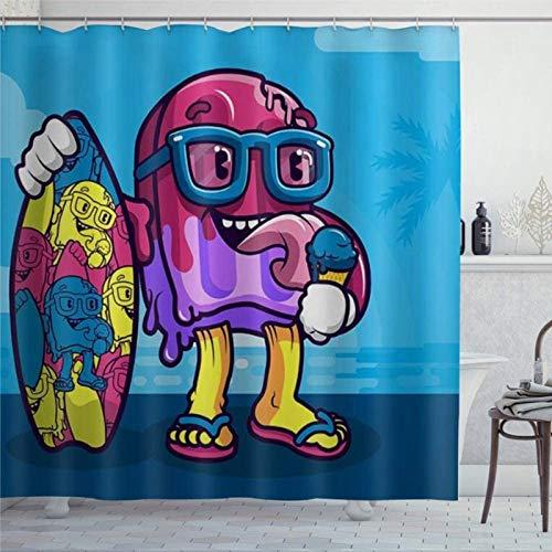 EricauBird Duschvorhang mit Cartoon-Motiv, Eiscreme mit Skateboard-Motiven, Duschvorhang mit Ringen, Polyestergewebe, Duschvorhänge mit Haken, Bad-Dekor