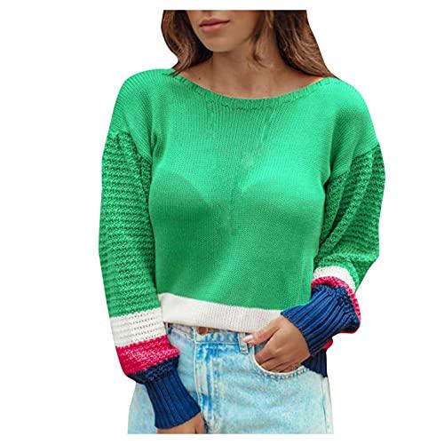 SHIZUANYUE - Sudadera de manga larga para mujer, cuello redondo, blusa, jersey, jersey de punto extragrande, ligera, de punto, cómoda, informal, verde, XL