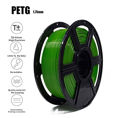 PETG 3D Filament 1.75mm 1KG(2.2lb) Green, Dimensional Accuracy +/- 0.02 Mm,Non-Toxic Eco-Friendly Consumables for Most 3D Printers
