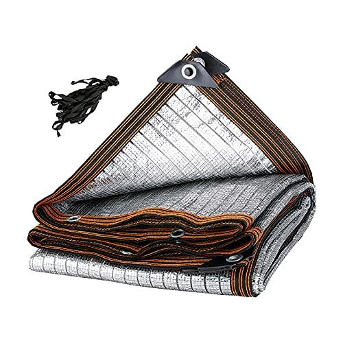 Red para Cortinas de Papel de Aluminio, Malla de Malla para sombrillas de Techo y cochera de Verano con Ojales, paño Protector Solar Plateado para balcón (tamaño: 4m × 6m / 13ft × 20ft)