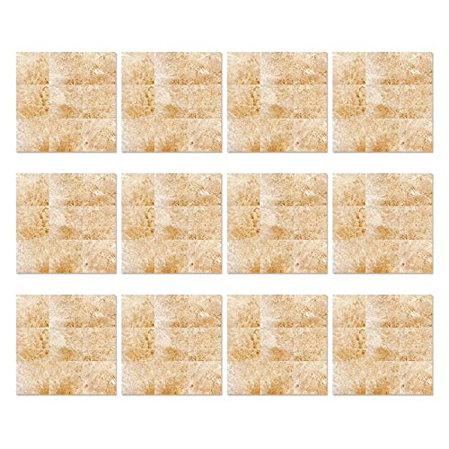 Mousyee Azulejos Adhesivos Pvc, Azulejos Adhesivos 20x20, 12 Piezas Autoadhesivas Impermeable PVC Efecto Mármol Azulejos Pegatinas Transferencias para Baño Cocina Arte Calcomanías Decoración del Hogar