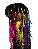 Juego de 6hecho a mano Boho Hippie extensiones de pelo con clip de plumas peine horquill...