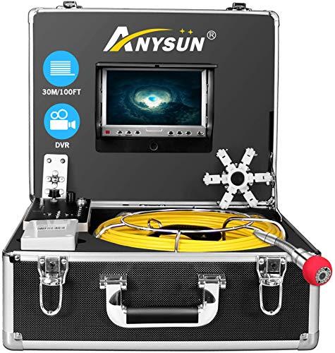 Cámara de Inspección de drenaje, IHBUDS Endoscopio Industrial de la tubería de Alcantarilla con el Registrador de DVR, Boroscopio Inalámbrico Impermeable IP68 30M/100ft con Monitor LCD 1000TVL