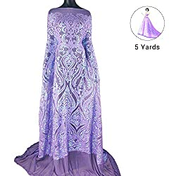 Pattern 3-Purple 5 Yards Mesh Tulle Embroidered Fabrics With Sequins