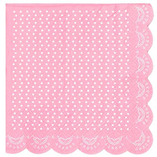 20 elegantes servilletas de papel con diseño de perlas blancas en color rosa.