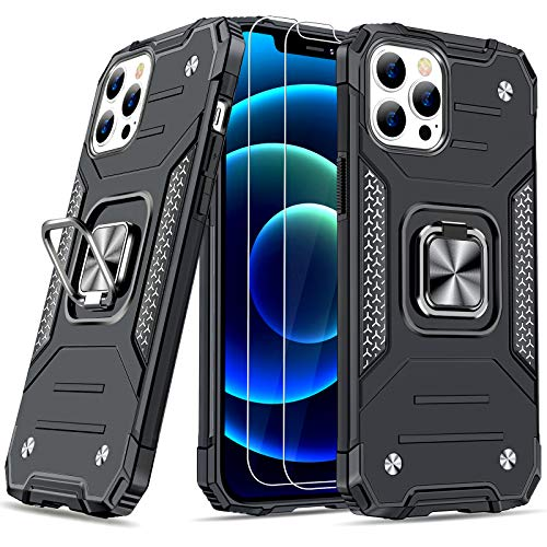 """JAME Designed for iPhone 12 Pro Max Case with Screen Protector x 2, Military-Grade Drop Protection Cover, Protective Phone Cases, with Ring Kickstand, Bumper Case for iPhone 12 Pro Max 6.7"""" Black"""