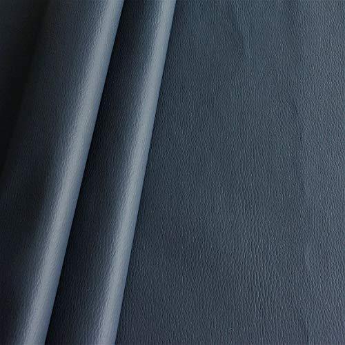 STOFFKONTOR Polster PVC Kunstleder, Polsterstoff in Rindsleder Optik, Möbelstoff Meterware - Navy-Blau - für sämtliche Polsterarbeiten, Autos, Boote, Dekorationen