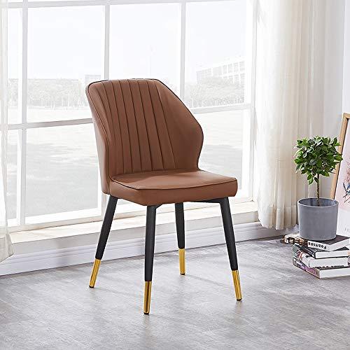 GAOX Silla De Mesa De Comedor Nórdica Minimalista Moderna Casa Hotel Silla De Silla Suave Silla De Cuero con Reposabrazos(Color:marrón)
