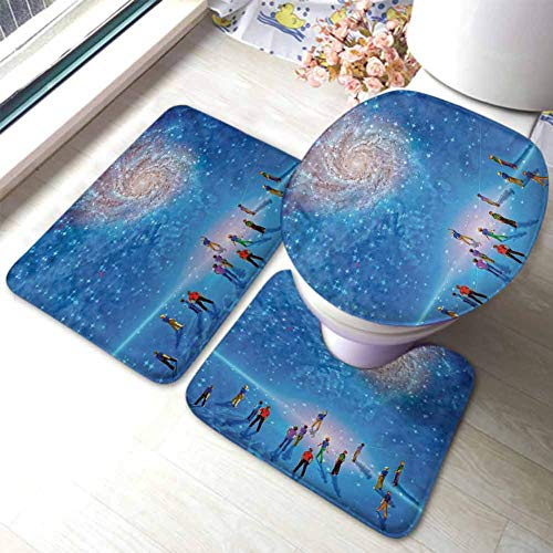 Constellation Bathmat Toilet Mat Set People Gather to See Mysterious Galactic Cosmic Phenomena Sci-Fi Like Scene Extra Soft Memory Foam Bath Mats, Multicolor