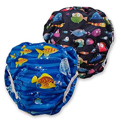 Fakiku Lot de 2 couches de natation, réglables, lavables et réutilisables, pour piscine et mer, Noir