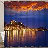 FOURFOOL Cortinas de Ducha,Alicante al Atardecer Desde la Playa del Postiguet en España,Impermeable Cortinas Baño y Lavables Cortinas Bañera 180x180CM