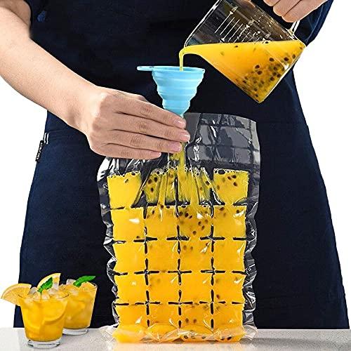 Orapink 40 bolsas desechables para cubitos de hielo con embudo plegable autosellado, bolsas para hacer cubitos de hielo para bebidas, jugos, cócteles, whisky (960 cubitos de hielo)
