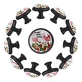 12 pomos de cristal de 35 mm para aparador, diseño de flamenco con sombrero de Navidad, regalos de felicitación, forma de círculo, tiradores de cajón con tornillos para oficina en el hogar