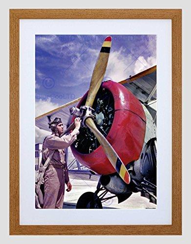 Wee Blue Coo Vintage Propellor Vliegtuig Piloot Airman Omlijst Muur Art Print