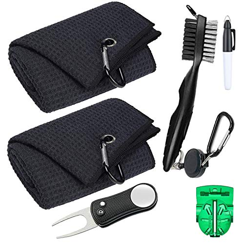Golf Towel 2pcs Microfiber Waffle Pattern Golf Towel,Golf Club Cleaning Brushes with Groove Cleaner,Foldable Golf Divot Repair Tool,Golf Ball Marker with Pen,Golf Accessories set of 6pcs for Men Women