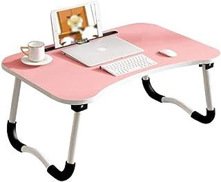 Yaosh Stolik na łóżko, składany stojak na biurko, notebook stół akademik biurko śniadanie podawanie łóżko taca z otworem d...