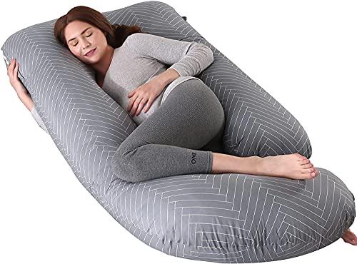 ARNTY Almohada Embarazada Dormir,Almohada de Maternidad Forma u,Embarazo Almohada de Cuerpo Mejorar Sueño, con Funda Extraíble y Lavable (Gris-Rayado-Forma de U)