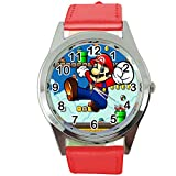 Reloj de cuarzo redondo rojo banda de cuero bigote fontanero