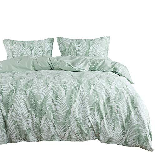 Wake In Cloud - Leaves Comforter Set, 100% Cotton Fabric with Soft Microfiber Fill Bedding, Tropical Palm Banana Tree Pattern Printed in Green White (3pcs, Queen Size)