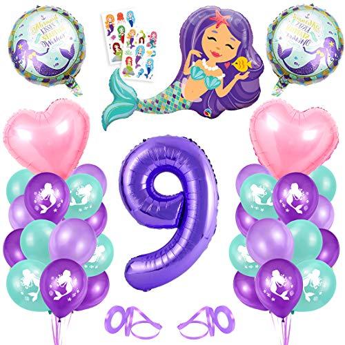 Sirena Decoración de Cumpleaños 9,Numero 9 Morado Gigantes Aluminio Globos Decoracion,Globos 9 año Cumpleãnos Sirena Niña Látex Globos Fiesta Party Decoración