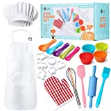 Kids Baking Set 32 Pcs Includes Kids Chef Apron & Hat, Cookie Cutter, Oven Mitt, Real Baki...