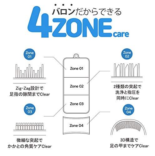 Ballon(バロン)(新商品)|不便な足洗いが楽に|3D4Zoneケア角質とりフットブラシ・足洗いマット