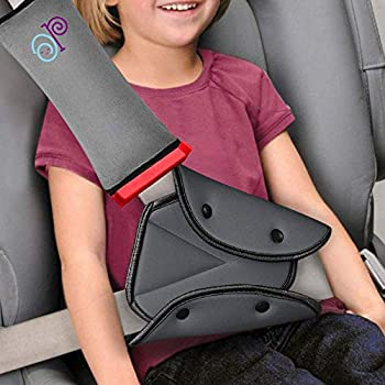 Seat Belt Adjuster and Pillow with Clip for Kids Travel Neck Support Headrest Seatbelt Pillow Cover & Seatbelt Adjuster for Child,Car Seat Strap Cushion Pads for Baby Kids