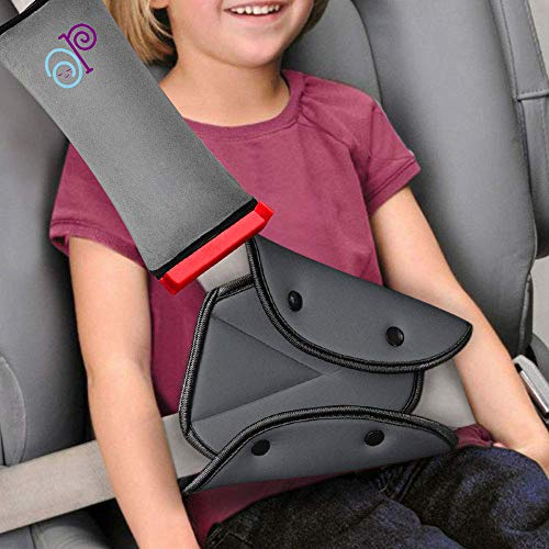 Seat Belt Adjuster and Pillow with Clip for Kids Travel, Neck Support Headrest Seatbelt Pillow Cover & Seatbelt Adjuster for Child,Car Seat Strap Cushion Pads for Baby Kids