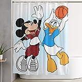 pingshang Lustige Stoff-Duschvorhang-Maus & Donald Duck wasserdichtes Badezimmer-Dekor mit Haken 60 x 72 Zoll