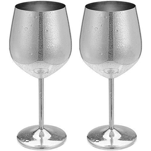 Amazon Brand-Pack de 2 copas de vino de cobre de acero inoxidable para bebidas de metal, copas de cóctel, copas de vino de oro rosa, 17 onzas (plata)
