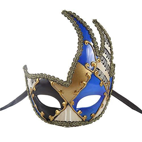 BLEVET Herren Maskerade Maske Musical Party Glocken Mardi Gras Party Venedig Prinzessin Halloween MZ062 (Blue)