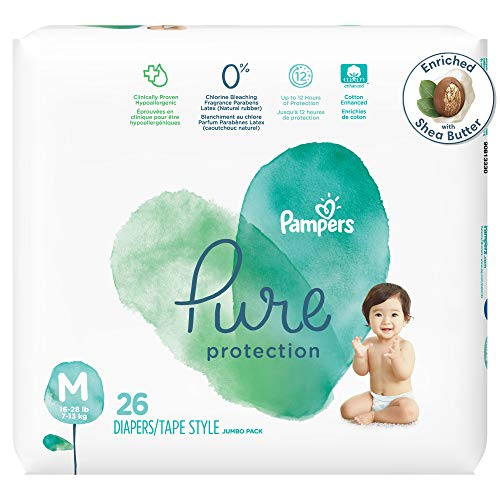 Diapers Size 3, 26 Count - Pampers Pure Protection Disposable Baby Diapers, Hypoallergenic and Unscented Protection, Jumbo Pack (Packaging May Vary)