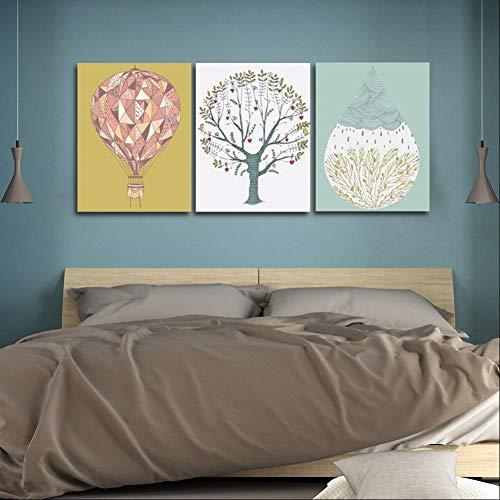 GYSS 3-delige schilderij kalligrafie stijl eenvoudige boom schilden en afdrukken Moderne kunst muur woonkamer decoratie