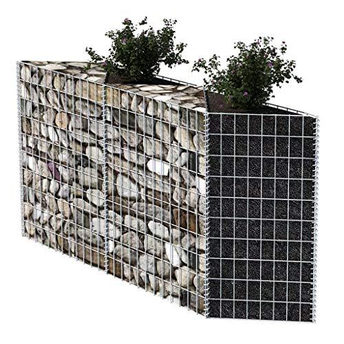 Gabionen Hochbeet aus Stahl Steinkorb-Pflanzkübel 120×30×100 cm für Stützmauern Gartenzaun Gabionenwand Mauer Säule verzinkt