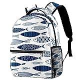 Mochila con patrón de líneas azules de pescado para adolescentes, mochila de viaje informal