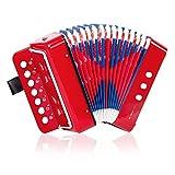 Horse Accordéon 10 touches pour enfants - Instrument de musique léger et respectueux de l'environnement (Rouge)