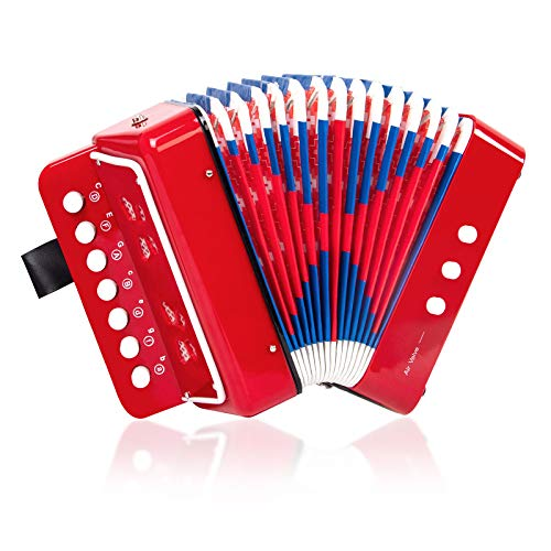 Horse Button Accordion,10 Keys Control Kids Accordion Musical Instruments for Kids Children...