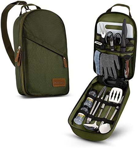 Camp Kitchen Cooking Utensil Set Travel Organizer Grill Accessories Portable Compact Gear for product image