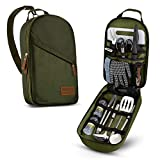 Camp Kitchen Cooking Utensil Set Travel Organizer Grill Accessories Portable Compact Gear for Backpacking BBQ Camping Hiking Travel Cookware Kit Water Resistant Case (Green 13 Piece Set)