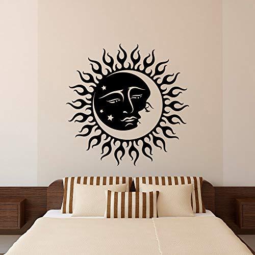 Charakter Kopf Mond Sonne Zimmer Aufkleber Vinyl Wandtattoo Aufkleber 37X57cm