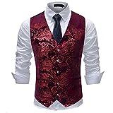 Mens Single Breasted Vest Dress Vest Slim Fit Button Down Prom Formal Suit Vest Waistcoat,Floral - Red/Purple,Large