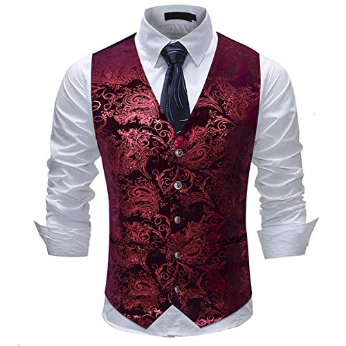 Allthemen Weste Herren Westen Gilet Jacquard Anzugweste für Hochzeit und Party Rot Medium
