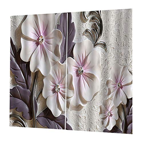 Baoblaze Window 3D Curtains Floral Printed Blockout Curtain Drape Bedroom Living Room