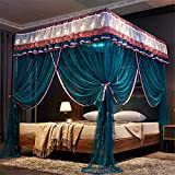 Lotus Karen 4 Corners Post Bed Canopy-Gorgeous Lace Bed Curtains for Girls and Ladies-3 Opening Peacock Blue Mosquito Net-Romantic Princess Bedding King Size