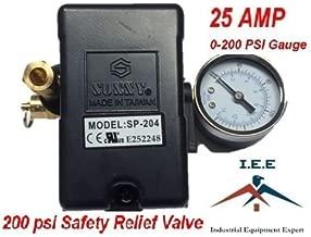 25 AMP Air Compressor Pressure Switch 4 Port 145-175 PSI w/ Side Mount 0-200 PSI Gauge 200 PSI pop off valve