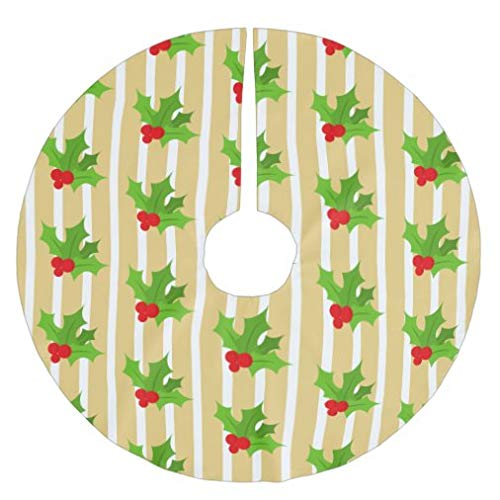onepicebest Merry Christmas Tree Skirt, Vintage Green Red Gold Christmas Holly Tree Skirt Xmas Tree Decorations for Farmhouse Party, Tree Mat Cover 36 Inch