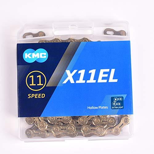 KMC X11EL - Cadena para bicicleta (118 eslabones), color dorado